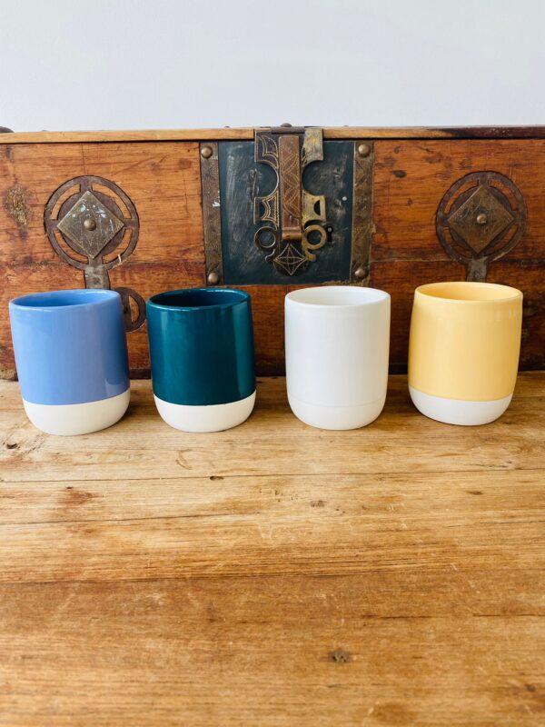 Yellow Handmade Moroccan Mug   Set of 2   Tahanaout