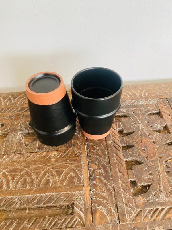 Black |S| Handmade Modern Beldi Mug | Terracotta | Moroccan Espresso Mug | Set of 2